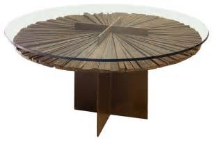 Glass Top Wood Dining Table Mandala Dining Table Salvaged Wood And Glass Top Contemporary Dining Tables Miami By