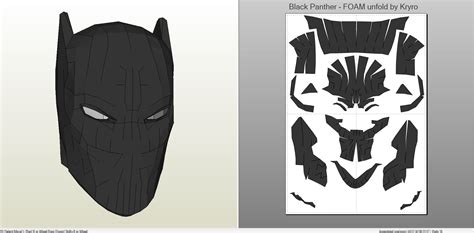 Topeng Batman Mask Vs Superman papercraft pdo file template for black panther mask