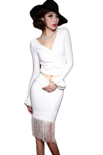 white chic womens wrap flare sleeve fringe stripe midi