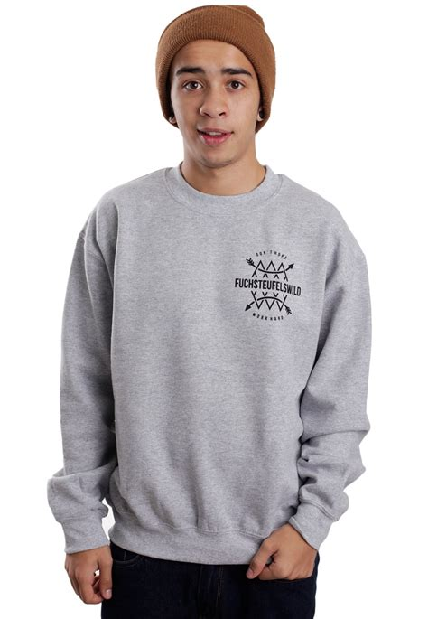 Hoodie Jumper Rebel8 Grey fuchsteufelswild arrow grey sweater streetwear shop impericon uk
