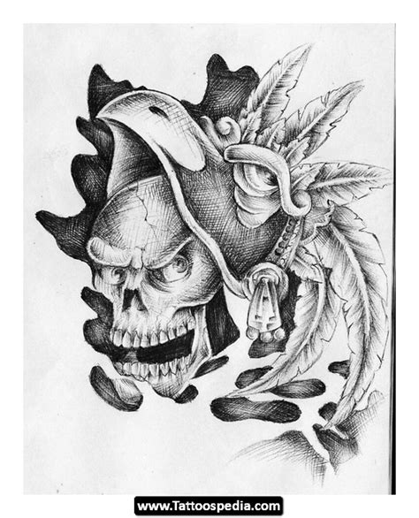 aztec warrior skull tattoo designs new aztec skull design