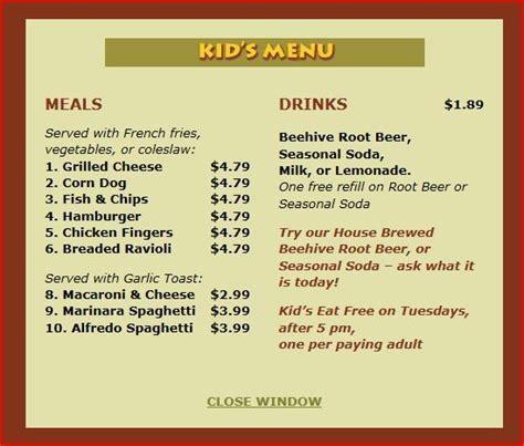 kid friendly dinner menu the beehive grill logan ut added to kid friendly