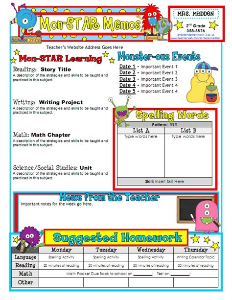 newsletter templates for teachers to parents