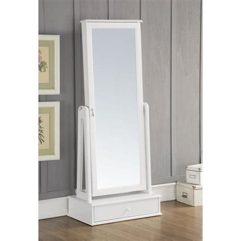 acme mirror jewelry armoire in white 97116