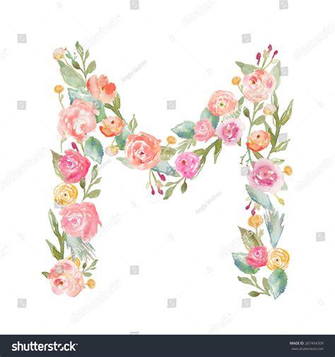 flower design m watercolor floral monogram letter m floral alphabet