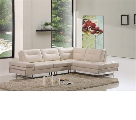 modern beige leather sectional sofa dreamfurniture 969a modern beige italian leather