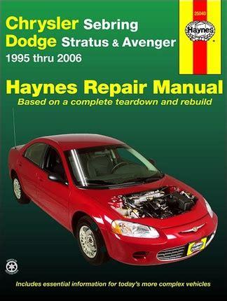 car manuals free online 1997 dodge stratus spare parts catalogs chrysler sebring dodge stratus avenger repair manual 1995 2006