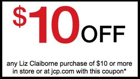 Can You Use Jcpenney Gift Card At Sephora Online - jcpenney printable couon 10 off 10 liz claiborne purchase bucktown bargains
