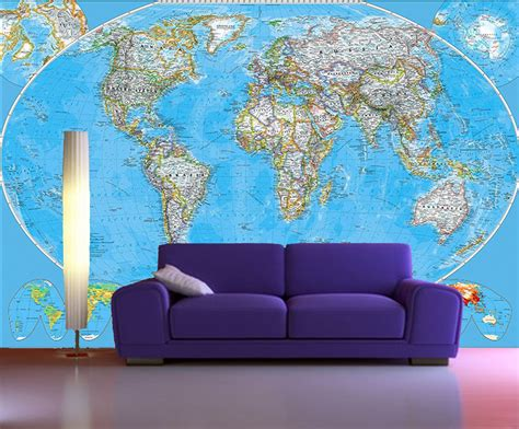 Self Stick Wall Murals Self Adhesive World Map Decorating Photo Wall Mural