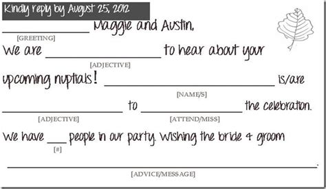 Mad Libs Rsvp Card Template by The Golden Means Mailbox Brought To You By Wedding