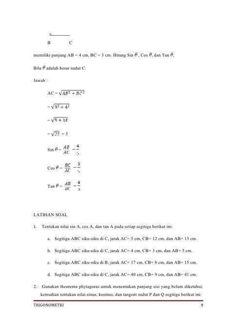 trigonometri peta konsep  lks