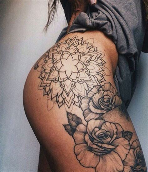 side thigh tattoos hip tattoos on