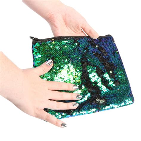 Home Decor Wholesalers by Mermaid Black Magic Sequin Zip Pouch