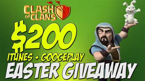 Clash Of Clans Google Play Gift Card - clash of clans easter giveaway itunes and google play gift cards free gems youtube