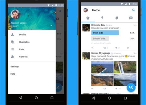 newspaper layout app twitter revs android app to follow material design