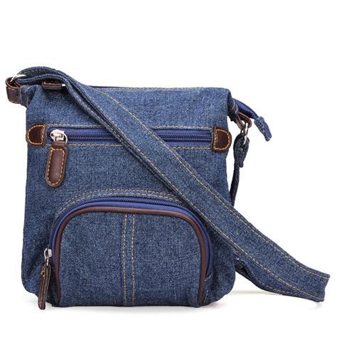 women retro small blue denim satchels shoulder messenger