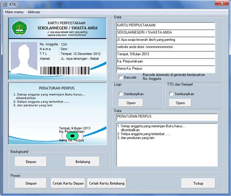 cara membuat barcode kartu anggota software perpustakaan sekolah simple perpus ichasoft