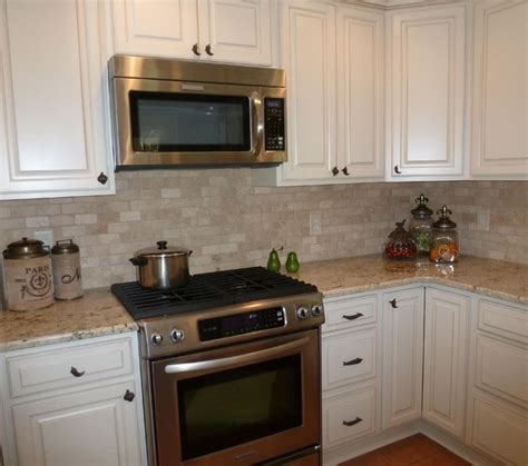 Travertine Kitchen Backsplash Colonial Gold Granite And Tumbled Travertine Backsplash Home Travertine