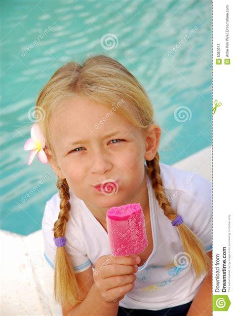pink ice cream girl stock image image  hold head hair