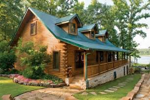custom crafted lakefront log home