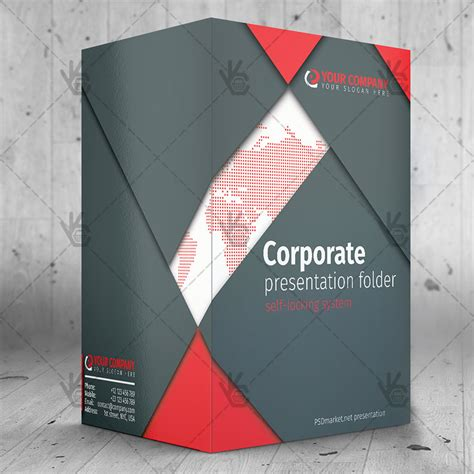 Corporate Free Presentation Folder Psd Template A4 Folder Template Psd