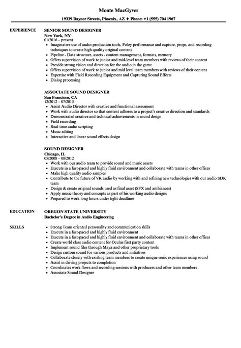 sound design cv template game audio engineer sle resume fbi intelligence analyst