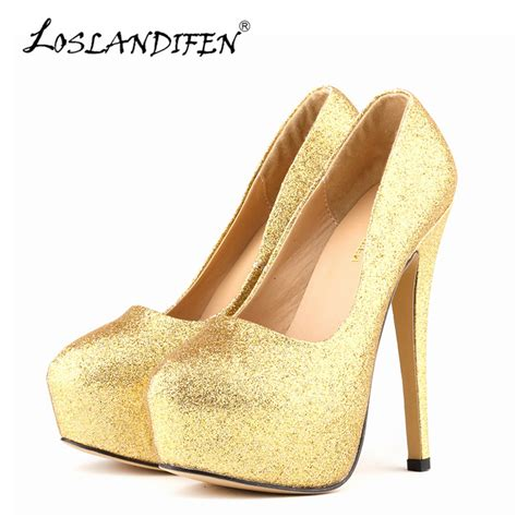 gold sparkly high heels loslandifen pumps ultra high heels glitter gold