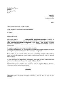 Lettre De R Siliation Urssaf modele resiliation contrat habitation document