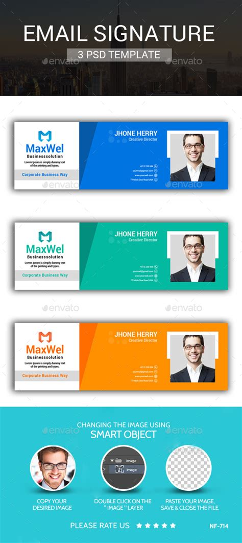 Responsive Email Signatures By Expomedia Graphicriver Psd Email Signature Template