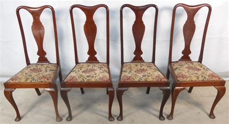 Old Settee Set Of Four Queen Anne Style Mahogany Dining Chairs Sold