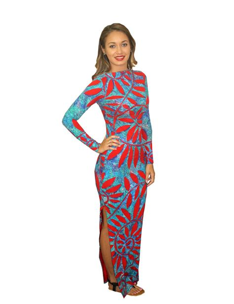 art pattern dress roti maha spandex dress pacific island arts fiji brand