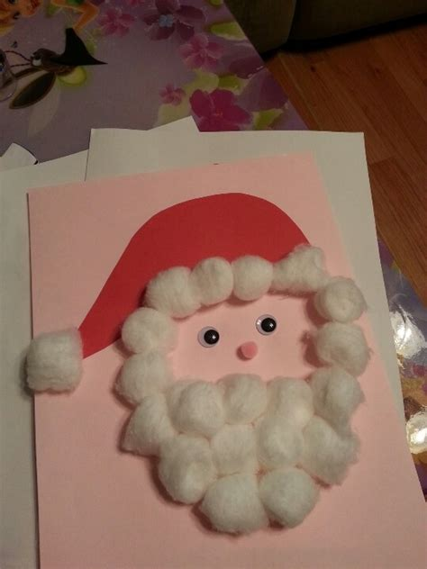 cotton ball santa christmas crafts pinterest