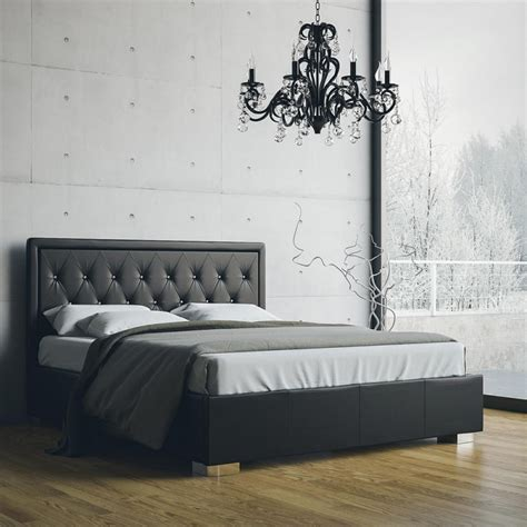letto con swarovski william letto matrimoniale in ecopelle nero con
