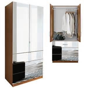 Mirrored Armoire Closet Alta Wardrobe Armoire 3 External Drawers Contempo Space