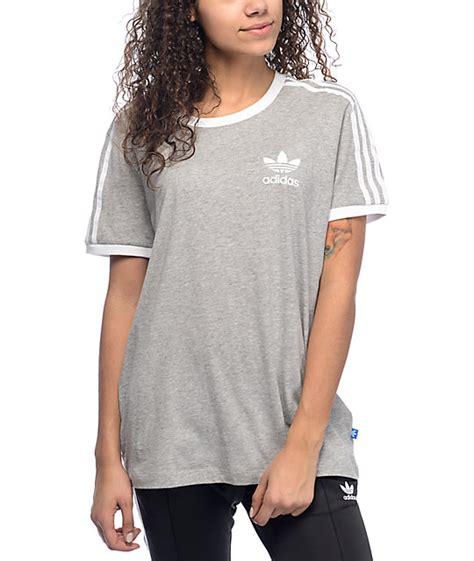 18682 Top Blackgraywhite adidas 3 stripe grey t shirt zumiez