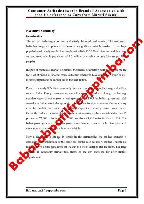 Mba Project Report Maruti Suzuki Pdf by A Project Report On Consumer Attitude Towards Branded