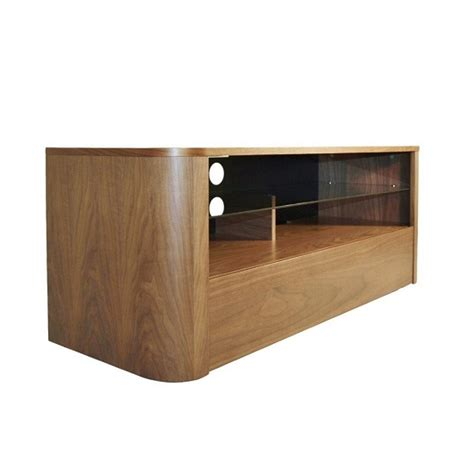 Wooden Tv Shelf by Cardiff Wooden Tv Stand In Walnut With Glass Shelf 26254