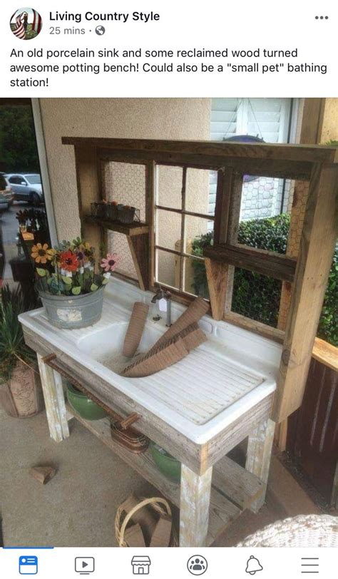 reclaimed sink pallet wood potting bench potting