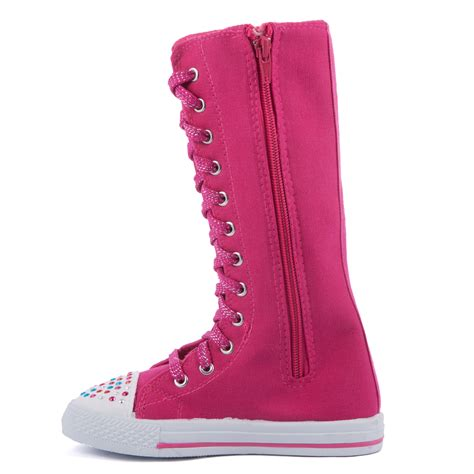 pattern lace up knee high sneaker boots girl knee high top lace up boot canvas sneakers kids shoes