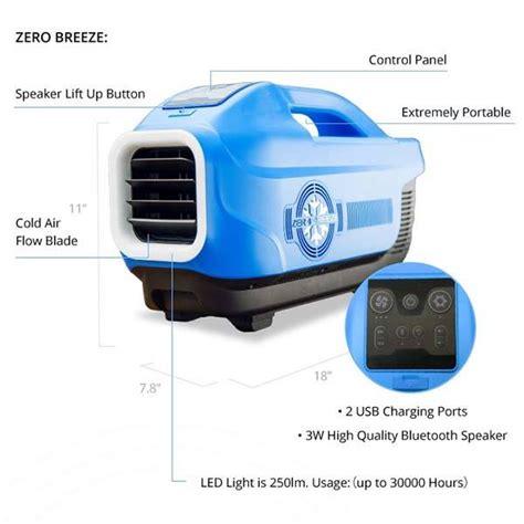 Ac Mini Usb Portable 2 Jendela Ac Duduk Portable Blower zero portable air conditioner with bluetooth speaker led light and power bank gadgetsin