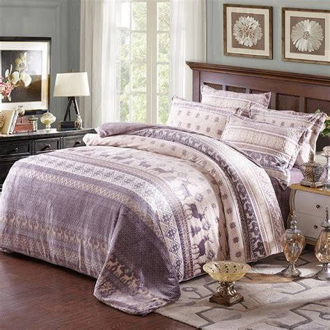 high quality sheets high quality bedding set gray deer bed linen fleece fabric sheets soft duvet cover for home