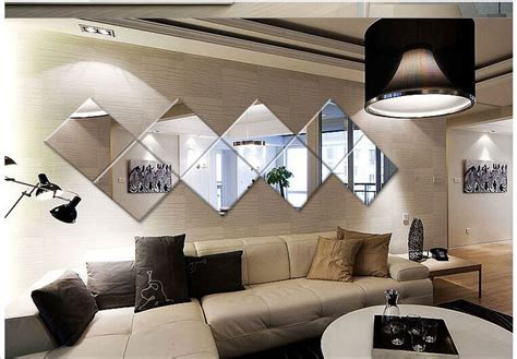living room decorative wall mirrors living room worthy 4pcs square mirror tile wall stickers 3d decal mosaic home