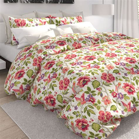 Tropical Duvet Covers tess white tropical floral duvet cover set by colorfly