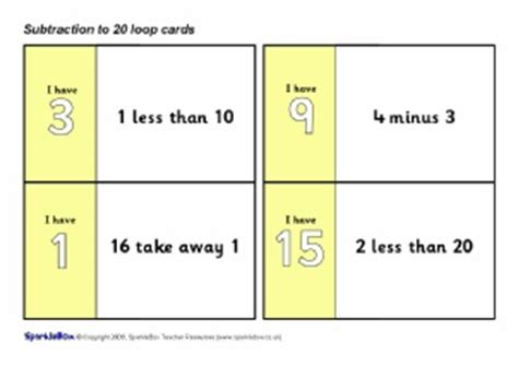 printable loop card games primary school subtraction activities and games resources