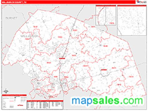 williamson county map texas williamson county tx zip code wall map line style by marketmaps
