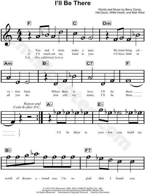 theme music in theri the jackson 5 quot i ll be there quot sheet music for beginners in