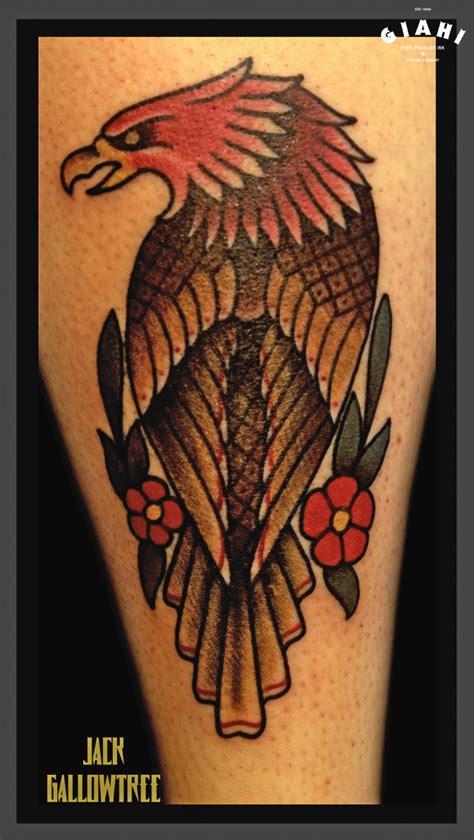 tattoo old school tree flowers hawk old school tattoo by jack gallowtree best