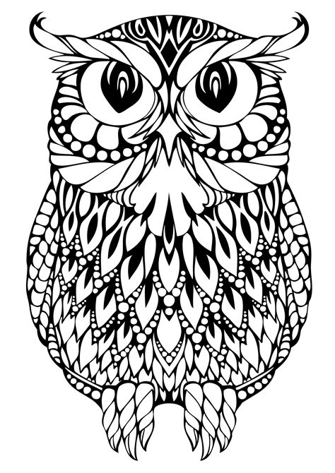 Free Coloring Pages Of Owl Complicated Owl Coloring Pages