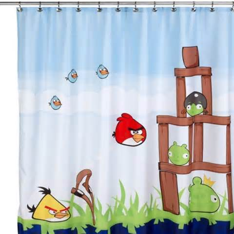 angry birds curtains angry birds 72 quot x 72 quot microfiber shower curtain 100 poly