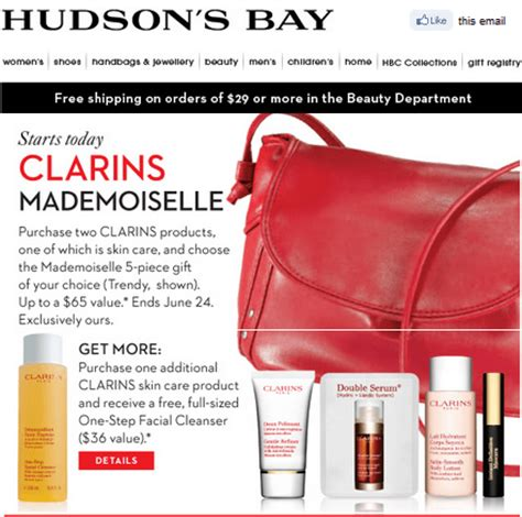 Hudson S Bay Canada Offers - hudson s bay exclusive offer get a 5 clarins gift